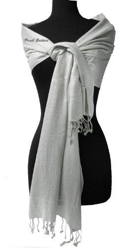 """Soft and Silky Beautiful Viscose Pashmina Silver Shawl/ Wrap 28"""" X 78"""""""