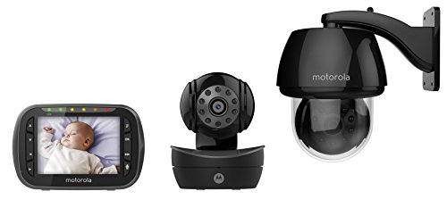 Motorola MBP360-B Indoor/Outdoor Remote Wireless Baby Monitor with 3.5-Inch Color LCD Screen and Remote Camera Pan, Tilt and Zoom