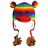 Agan Traders Wool Animal Hat Sock Monkey Rainbow OneSize