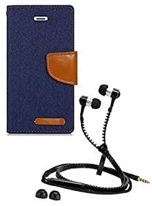 Aart Fancy Wallet Dairy Jeans Flip Case Cover for MotorolaMotoE (NavyBlue) + Zipper Earphones/Hands free With Mic *Stylish Design* for all Mobiles- computers & laptops By Aart Store.