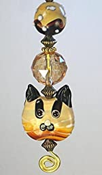 Rear View Mirror Car Accessory / Ornament Double-Sided Amber Glass Tabby Cat Face