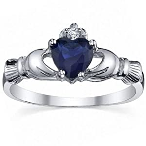 Corrine: 0.765ct Heart cut created Blue Sapphire Promise Friendship Engagement Dublin Claddagh Ring, Wedding Ring, 3184-A sz 6.0, 925 Sterling Silver by 1000 Jewels