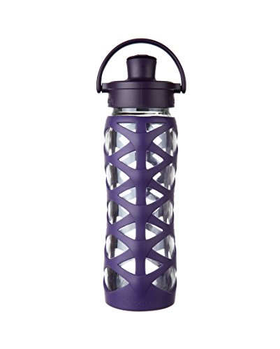 Lifefactory BPA-Free Glass Water Bottle with Active Flip Cap & Silicone Sleeve, 22 oz, Aubergine (Lifefactory Water Bottle Flip Top compare prices)