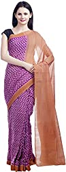 Fibre World Women's Cotton Saree with Blouse Piece (Purple)