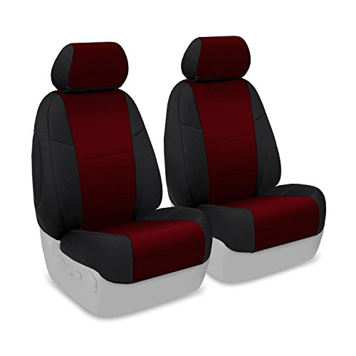 Coverking Front 50/50 Bucket Custom Fit Seat Cover For Select Ford Escape Models - Neosupreme (Wine With Black Sides)