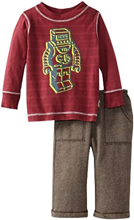 Charlie Rocket Baby-boys Infant Fleece Pant And Tee, Brown/Cranberry, 18-24 Months
