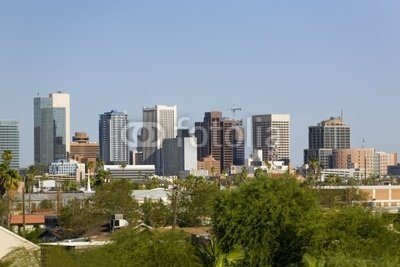 """Wallmonkeys Peel and Stick Wall Decals - City of Phoenix Downtown, Az - 24""""W x 16""""H Removable Graphic"""