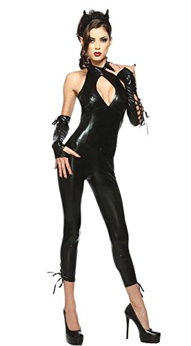 Ace Halloween Adult Sexy Catwoman Bodysuit Costume
