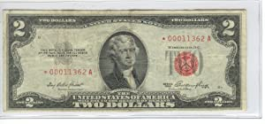 TWO DOLLAR BILL-RED SEAL --STAR NOTE--1953 SERIES-UNITED STATES NOTE