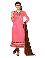 Lookslady Embroidered Pink Bhagalpuri Silk Zari Work Semi Stitched Salwar Suit