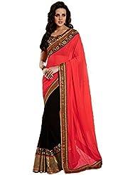 Rewa Enterprises Georgette Embroidered Party Wear Designer Fancy Saree With Blouse Piece - Red & Black