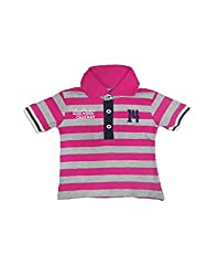 Snoby Collar Tshirt for boys-pink and grey(SBYkk662)