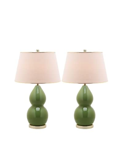 Safavieh Set of 2 Jill Double-Gourd Ceramic Lamps, Fern Green/Gold
