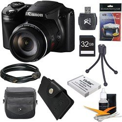 Canon PowerShot SX510 HS 12.1 MP CMOS Digital Camera with 30x Optical Zoom and 1080p Full-HD Video Ultimate Bundle With 32GB Secure Digital High Capacity (SDHC) Card, Digpro CompactDeluxe Carrying Case, Extra Battery , Tripod , HDMI Cable, Reader from Can