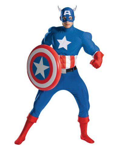 Adult-Costume Captain America Rental Quality Halloween Costume