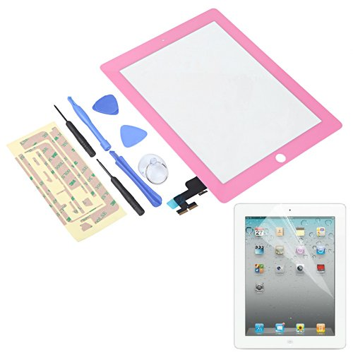 Hde Ipad 2 Digitizer Touch Screen Replacement Parts W/ 7-Piece Tool Kit, Adhesive Tape, And Screen Protector (Pink)