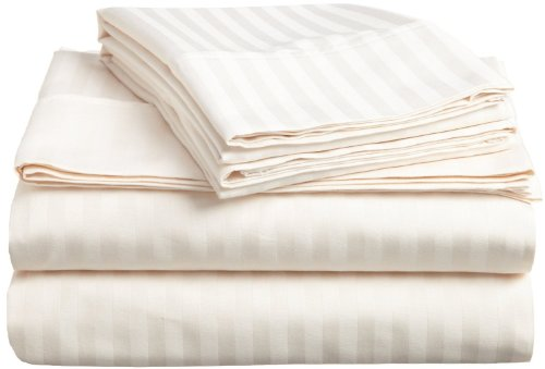 "Wholesale Price 600 Thread Count Egyptian Cotton Usa Branded Bed Sheet Set With 9""Deep Pocket Stripe ( California King/Western King , Ivory ) front-1065012"