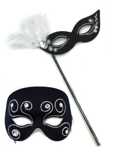 Elegant Glitz-Masquerade Glitz Black-White Masquerade Masks for a Couple