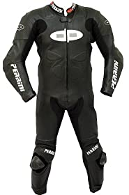 1pc Perrini Fusion Motorcycle Riding Racing Leather Suit w/ Padding & Hump Black -42