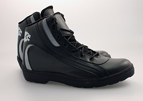 BKS K-02 EMMETT SHORT MOTORCYCLE BOOTS MOTORBIKE ANKLE BOOT BLACK J&S (EURO 42 / UK 8)