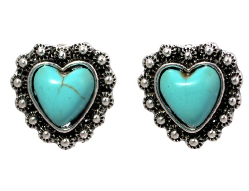 COMPLETELY FREE Heart Shaped Turquoise Vintage Stud Earrings!