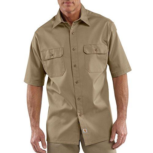 Carhartt Men's S223 Short Sleeve Twill Work Shirt - 3X-Large Tall - Khaki