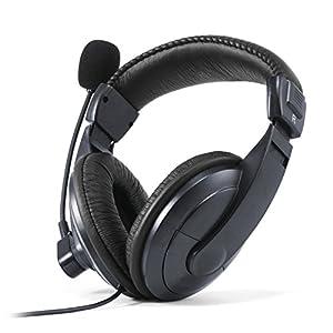 CSL - KEM-751 USB Headset inkl. externer Soundkarte / Komfortheadset inkl. Soundkarte (auch PS4) | Edition Komfort Plus (USB) | Kunstleder-Ohrpolster / Mesh-Inlay | Volumenregler | schwarz/schwarz