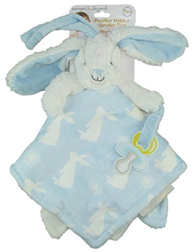 586dfe5055 Blankets   Beyond Plush Nunu With Pacifier Holder   Stroller Ties (Blue  Patterned Bunny)