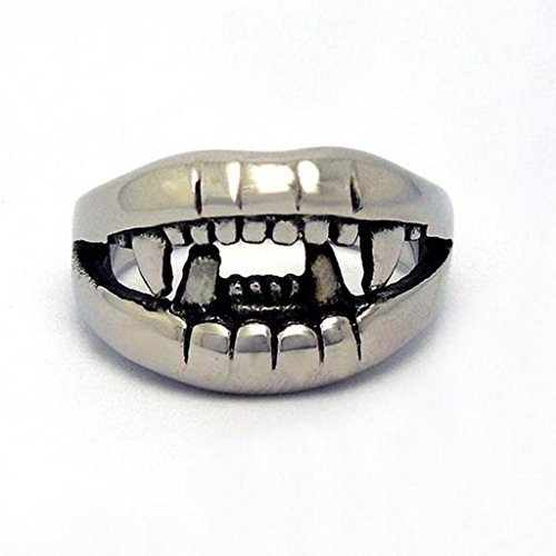 Mens Stainless Steel Rings Domineering Crocodiles' Tooth White Size 10 - Adisaer Jewelry