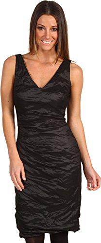Nicole Miller Women's V-Neck Tucked Techno Metal Dress Black Dress 2
