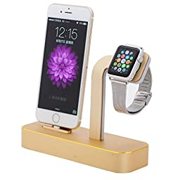 Taotree Apple Watch & iPhone Stand, 2 in 1 Aluminum Desk Charging Station, Apple Watch Charging Stand Cradle Holder Dock for iWatch 38mm/42mm, Premium Charging Stand for iPhone (Gold)