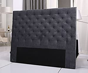 tete de lit capitonnee king 140 160cm velours gris amazon. Black Bedroom Furniture Sets. Home Design Ideas