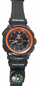 50m Water-proof Digital-analog Boys Girls Sport Digital Watch with Alarm Stopwatch Chronograph 1101-Orange