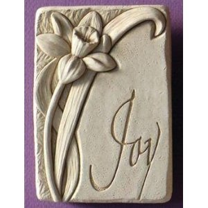 Cast Stone Expressions Collection Indoor Outdoor Daffodil Plaque Sculpture - Joy