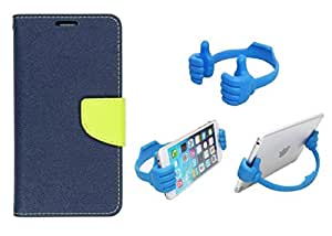 DENICELL Royal Dairy Style Flip Cover For ONE PLUS TWO 1+2 (LAPIS BLUE,ANY MOBILE STAND)