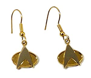 Star Trek The Next Generation COMMUNICATOR LOGO Goldtone French Wire EARRINGS