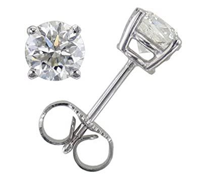 Classical 9 ct White Gold Solitaire Diamond Stud Earrings Brilliant Cut 0.50 Carat JK-I2 - 4mm*4mm
