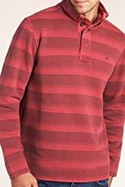 North Coast Pure Cotton Button Funnel Neck Stripe T-Shirt [T28-1551N-S]