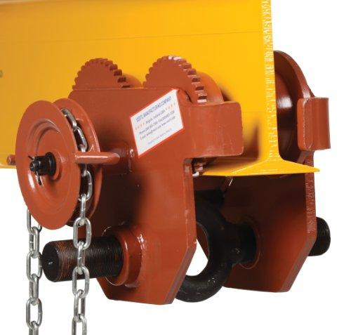 Vestil E-MT-6-C Steel Geared Low Profile Eye Manual Trolley, 6000 lbs Capacity, 3