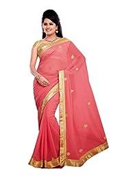 Bano Tradelink Women's Chiffon Saree (Red) - B00WI6HGUG