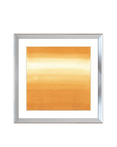 Reflective Silver Framed Yellow Watercolor Abstract