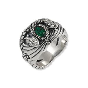 Lord of the Rings Sterling Silver Barahir's Aragon Ring - Size V