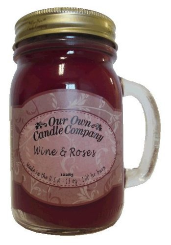 13oz WINE & ROSES Scented Jar Candle (Our Own Candle Company Brand) Made in USA - 100 hr burn time