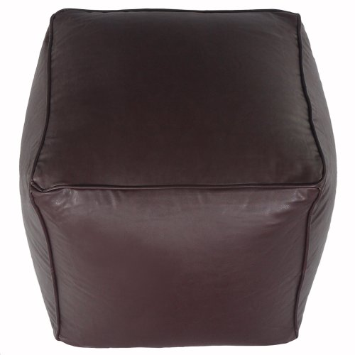 Faux Leather Light Chocolate Brown Cube Foot Stool Pouffe Bean Bag with Filling