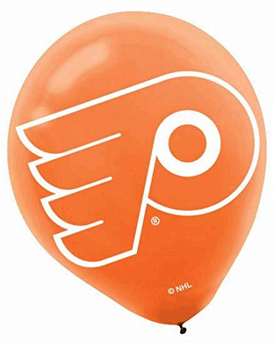 "Amscan Philadelphia Flyers Printed Latex NHL Party Balloons, 12"", Orange/Black"