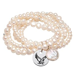 Boston College Eagles 5 Strand Pearl Stretch Bracelet by College Jewelry