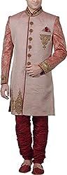 Amafhh Men's Linen Sherwani (amfiw9625, Orange, 42)