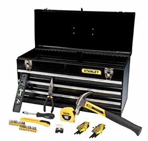 stanley 44 piece tool set metal tool box 94 843sbk home improvement. Black Bedroom Furniture Sets. Home Design Ideas