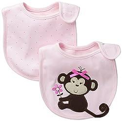 Little Me Baby-Girls Newborn 2 Pack 3D Monkey Bibs, Pink, 0-12 Months