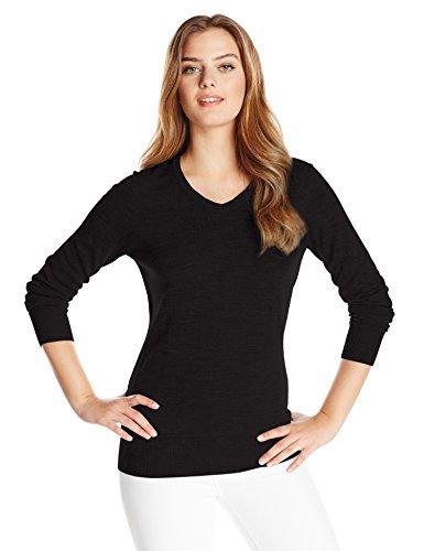 Cutter & Buck Women's Long Sleeve Douglas V-Neck Sweater, Black, Medium